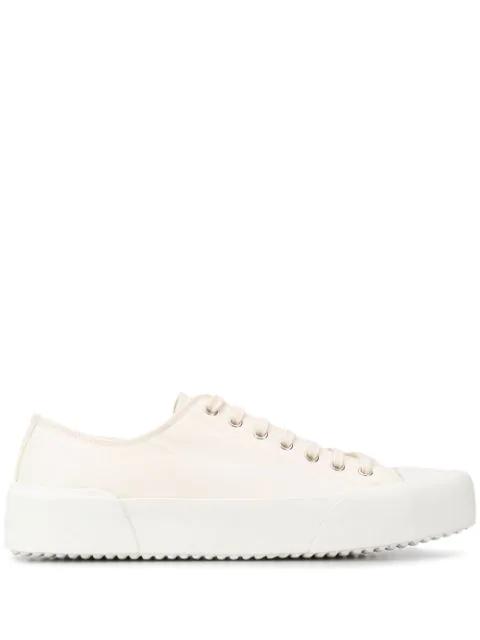 Jil Sander Canvas Low-Top Sneakers In White