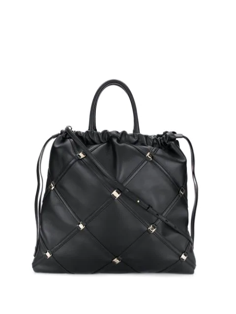 Salvatore Ferragamo Vara Chain Tote Bag In Black