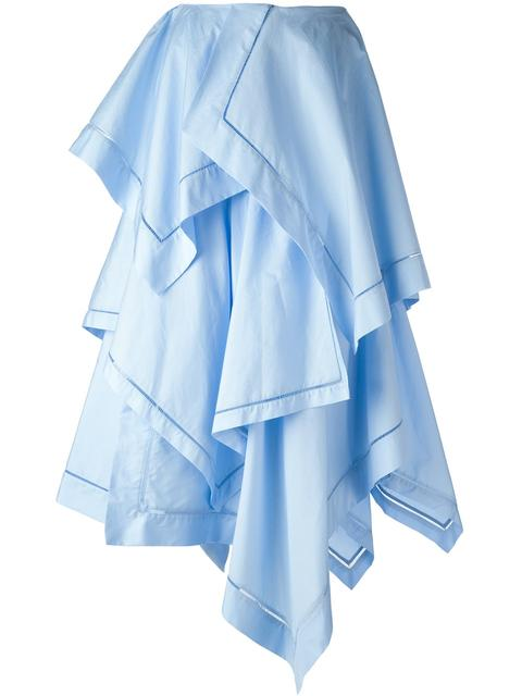 Jw Anderson Maxi Handkerchief Skirt W Fagotting Trim In Blue