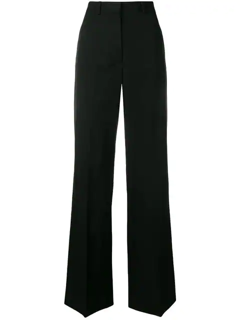 Stella Mccartney Wide Leg Tapered Trousers In Black