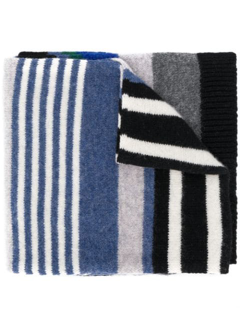 Ps By Paul Smith Striped Scarf In Black