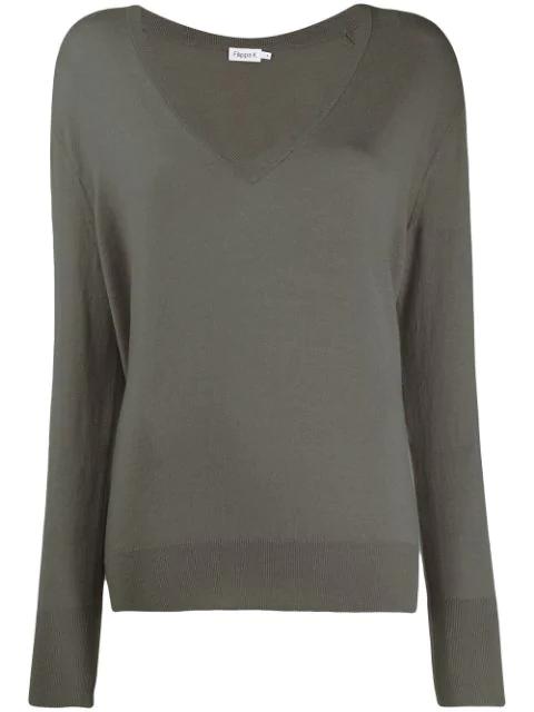 Filippa K Fine Knit V-neck Jumper In Grey