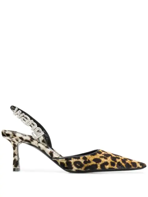 Alexander Wang Grace Leopard Velvet Point Toe Slingback Mules In Neutrals