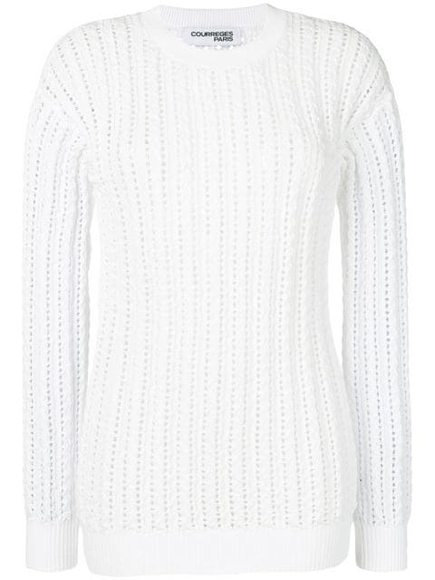 CourrÈGes Ribbed Knit Fitted Sweater In White