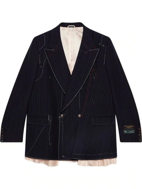 Gucci Asymmetric Pinstripe Jacket With Stitching In Blue