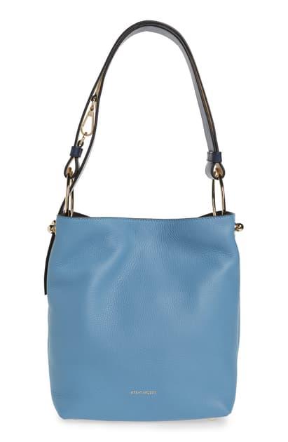 Strathberry Midi Lana Tricolor Leather Bucket Bag In Alice Blue/ Navy/ Vanila