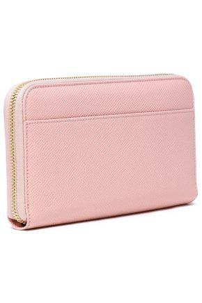 Dolce & Gabbana Embellished Textured-leather Continental Wallet In Pastel Pink
