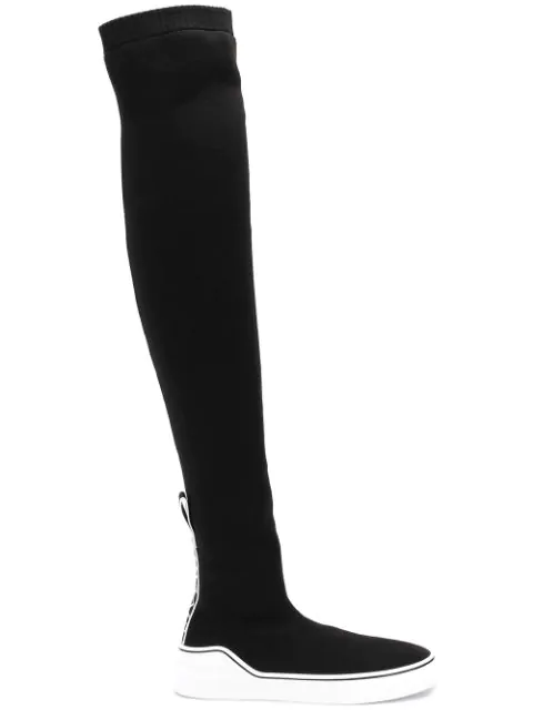 Givenchy Over-the-knee Knitted Sock-boot Trainers In 001 Black