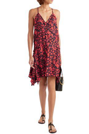 Iro Soul Floral-print Twill Mini Dress In Red