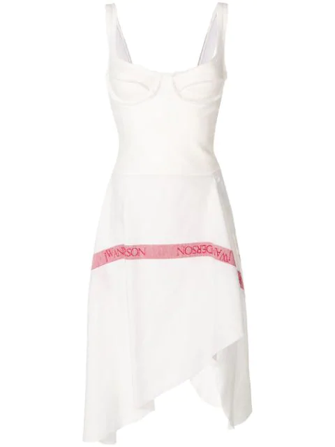 Jw Anderson J.W.Anderson Woman Wrap-Effect French Terry And  Linen Midi Dress Ivory In 001 White
