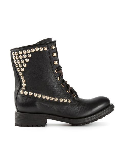 Ash 'Ralph' Stud Leather Biker Boots In Black