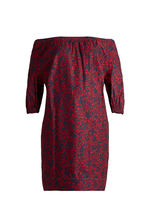 Sonia Rykiel Off-the-shoulder Square-print Cotton Top In Red Multi