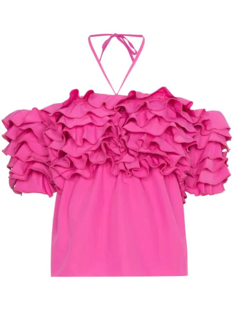 Rosie Assoulin Cha Cha Off-the-shoulder Ruffled Taffeta Top In Pink