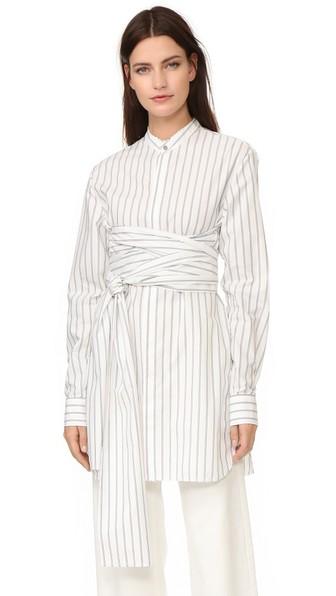 Baja East Wide Stripe Poplin Dress In Stripes, White. In Woodstock