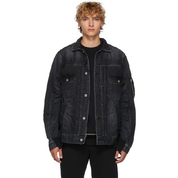 Sacai Black Denim Jacket In 001 Black