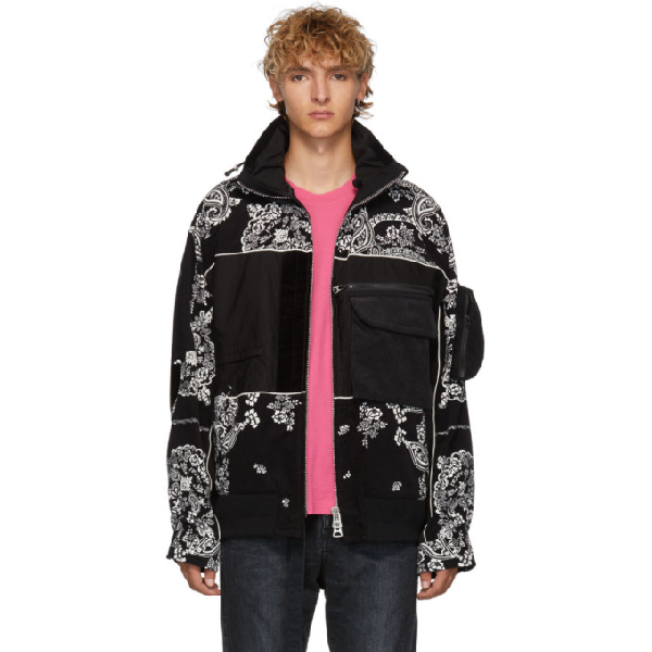 Sacai Black Floral Blouson Jacket
