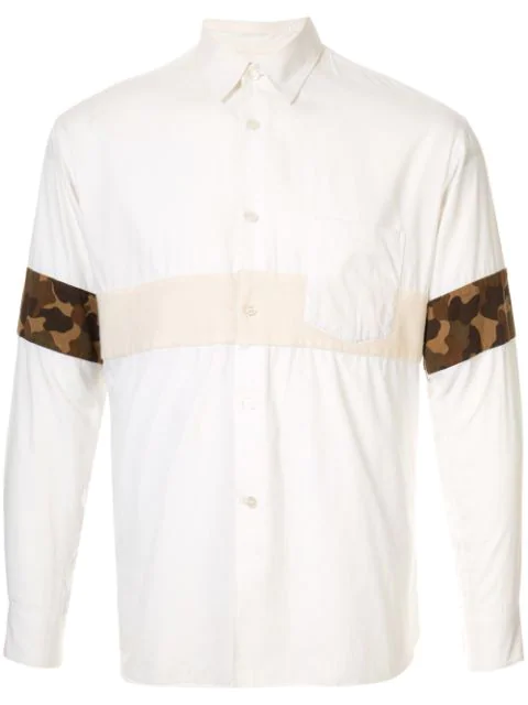 Pre-owned Comme Des Garçons Camouflage Insert Shirt In White