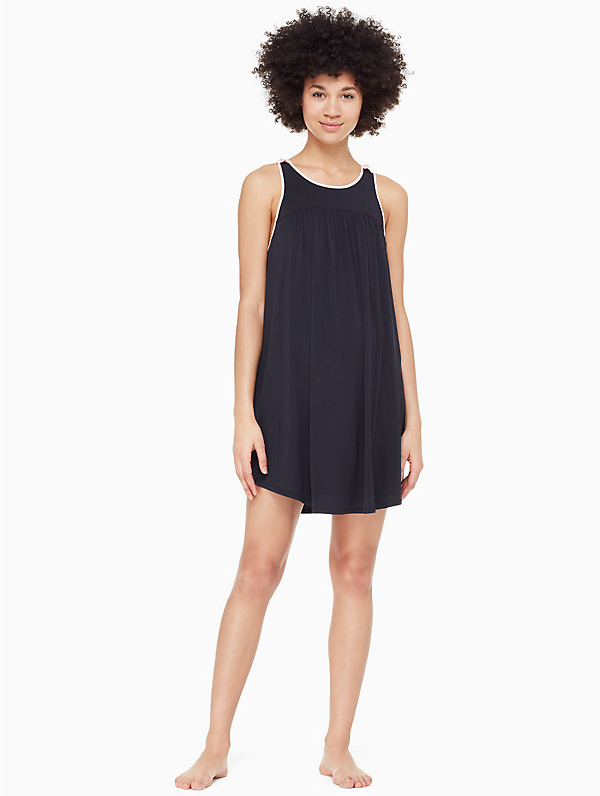 Kate Spade Jersey Blend Bow Chemise In Black