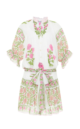 Juliet Dunn Belted Floral-print Cotton Mini Dress In White