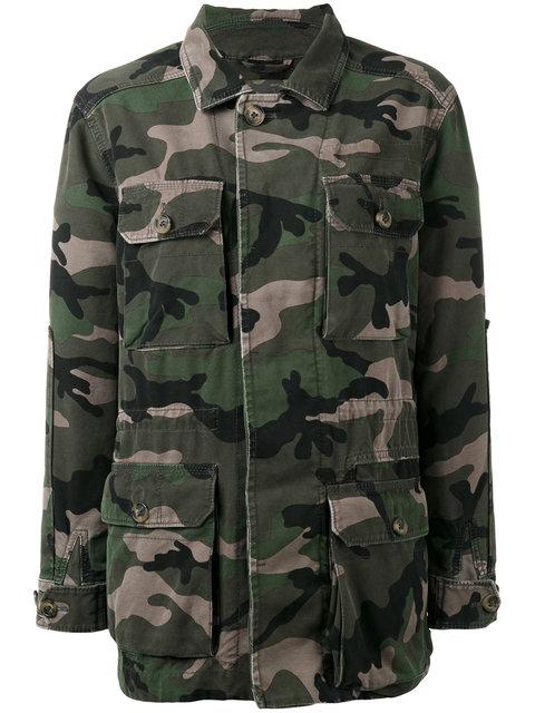Valentino Striped Camouflage-print Cotton-gabardine Jacket In Green Multi