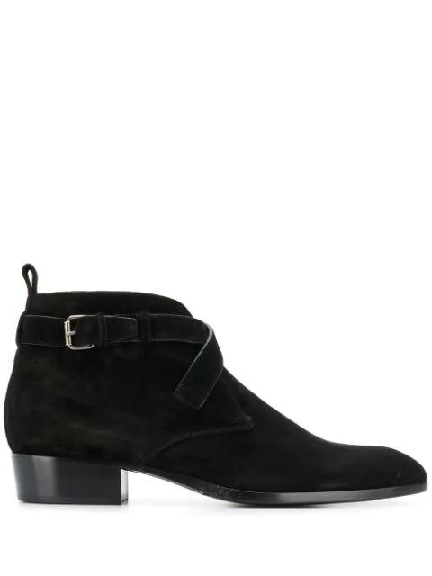 Saint Laurent Wyatt Buckle Suede Boots In Black