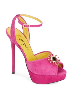 Charlotte Olympia Pomeline Jeweled Suede Platform Sandals In Perfect Pink