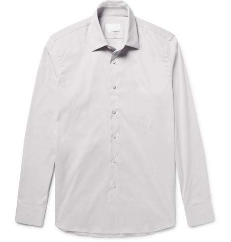Prada Slim-fit Stretch Cotton-blend Poplin Shirt - Light Gray