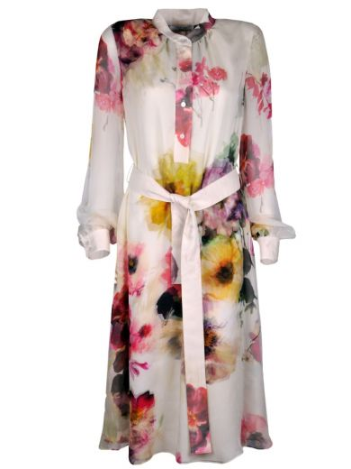 Lanvin Belted Floral Shirt Dress - Nude & Neutrals