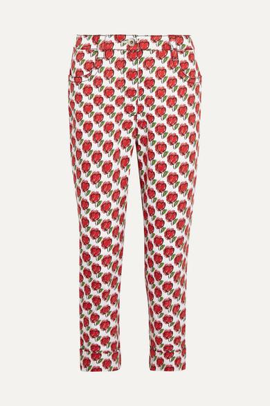 Prada Cropped Printed Mid-rise Slim-leg Jeans In Red