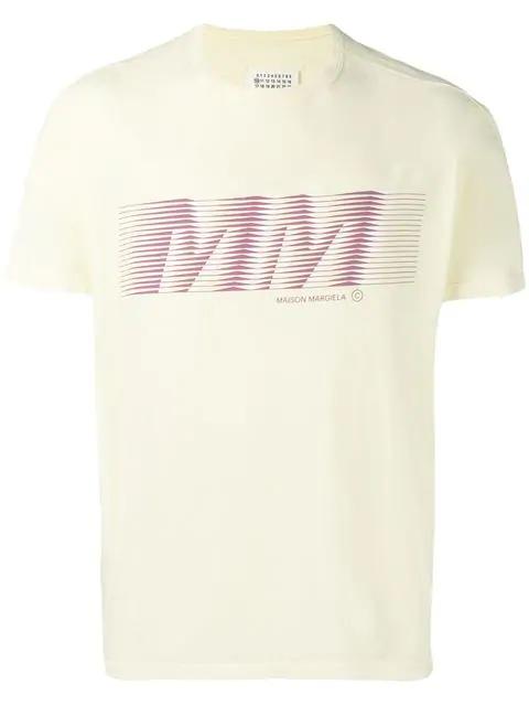 Maison Margiela Logo Print T-shirt In 169 Pale Yellow