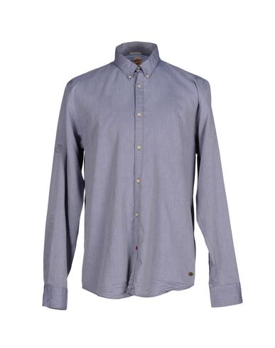 Scotch & Soda Solid Color Shirt In Slate Blue