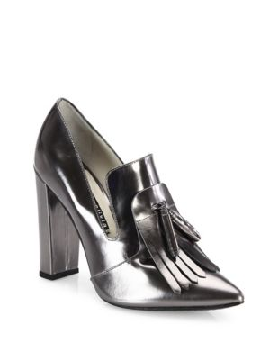 Alice And Olivia Cade Kilted Metallic Leather Point Toe Pumps In Gunmetal