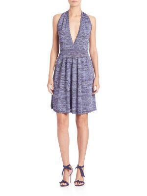 M Missoni Lurex Space-dye Halter Dress In Violet