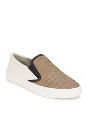 Vince Banler Crocodile-embossed Leather Slip-on Sneakers In Nude - Bone