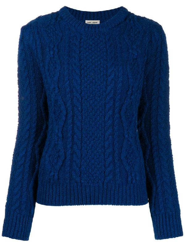 Saint Laurent Cable Knit Jumper In Blue