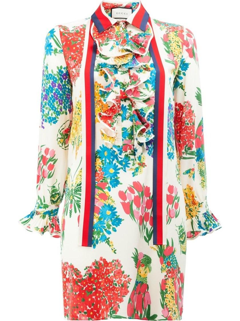Gucci Floral Print Ruffle Trim Shirt Dress In Multicolour