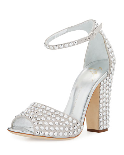 d055c7462652 Giuseppe Zanotti Lavinia Crystal-Embellished Suede Sandals In Silver ...
