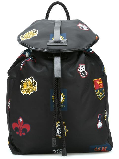 Alexander Mcqueen Black Nylon Badges Backpack In Navy