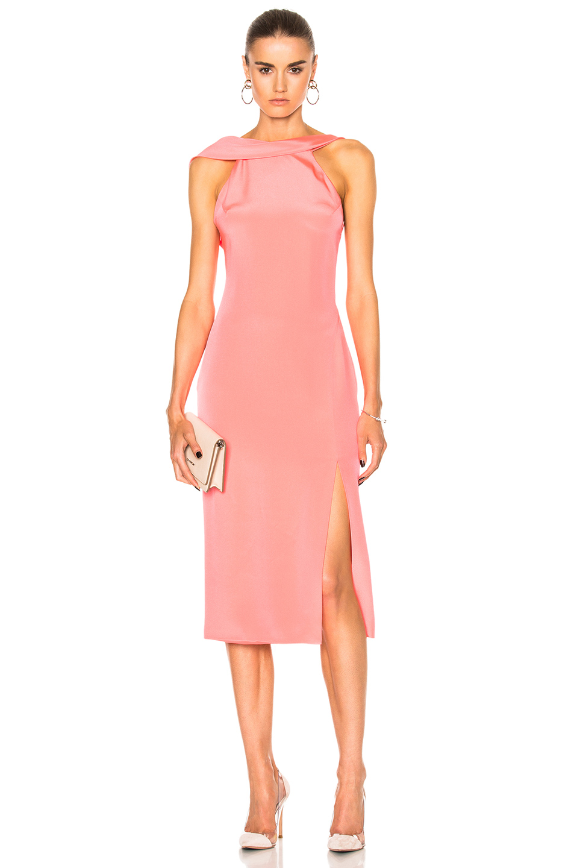 Cushnie Et Ochs Anna Cutout Silk-crepe Midi Dress In Flamingo