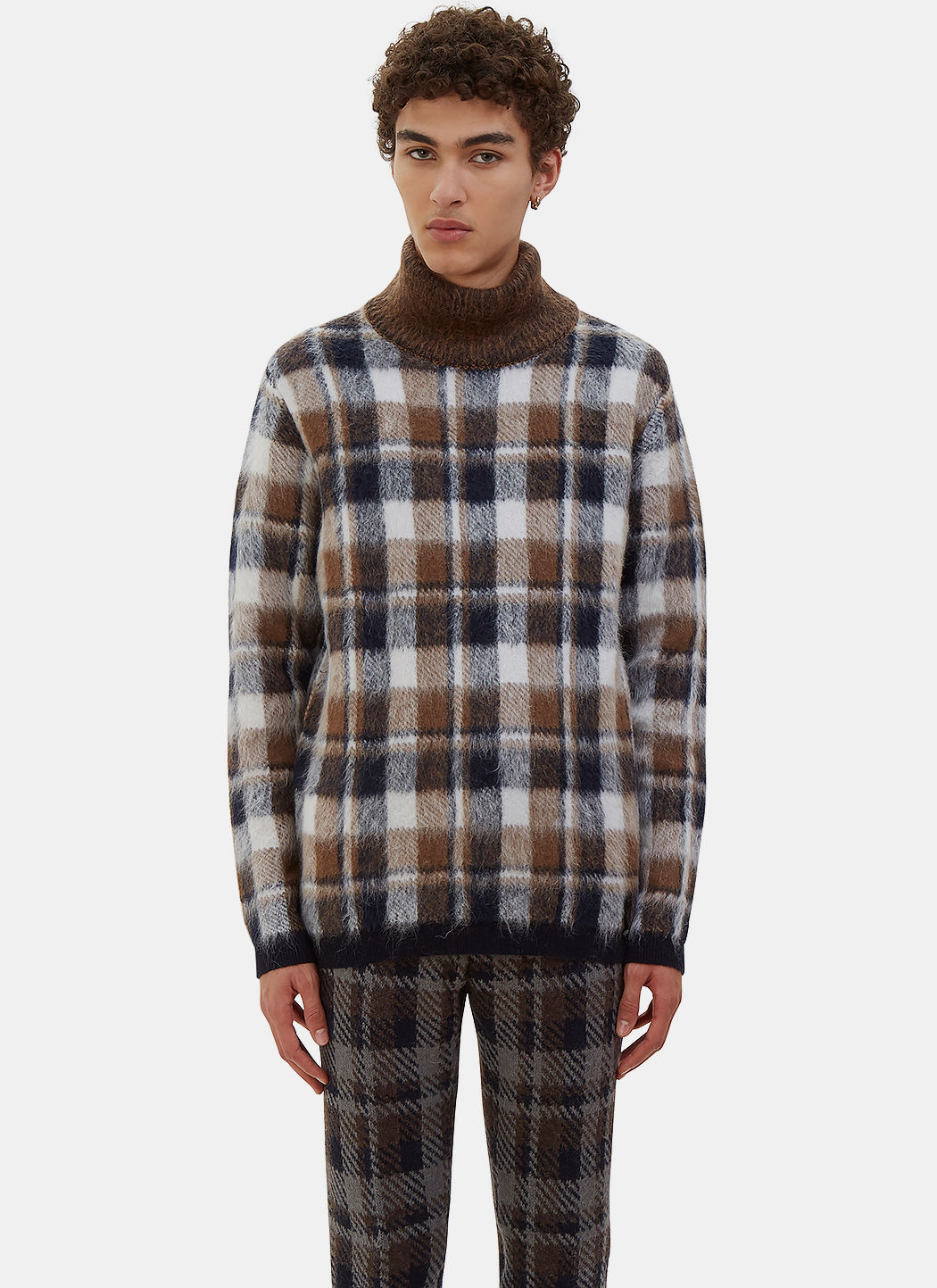 Men's Checked Hairy Knit Roll Neck Sweater In Navy, White And Brown