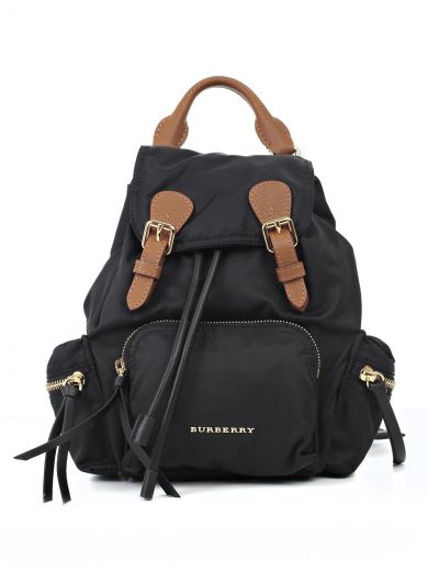 Burberry The Medium Rucksack In Technical Nylon And Leather In Black