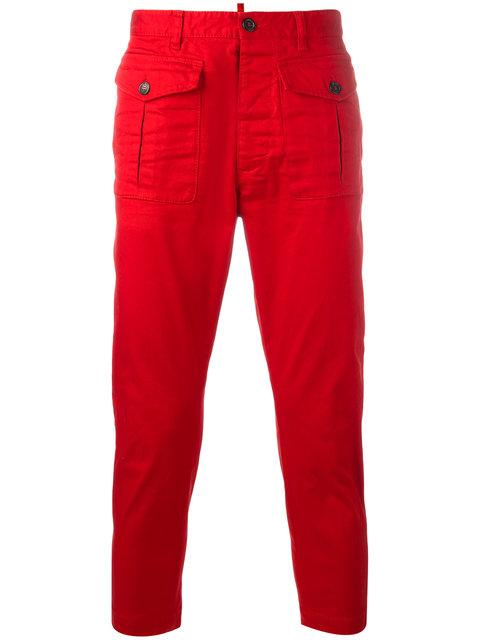 Dsquared2 Cropped Cargo Trousers In Red