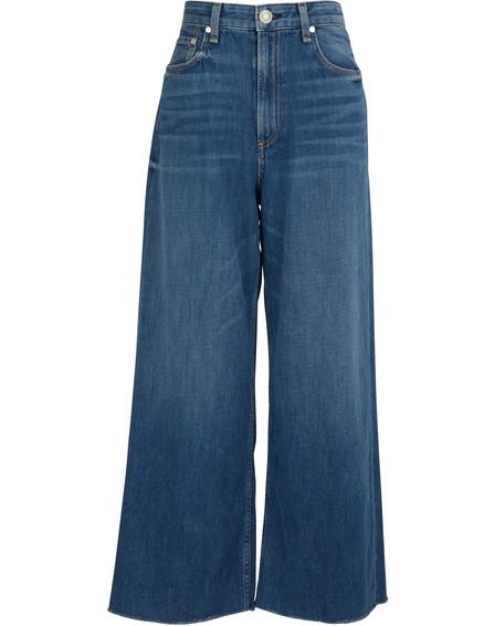 Rag & Bone Ruth Super High Waist Crop Wide Leg Jeans In Bright Blue