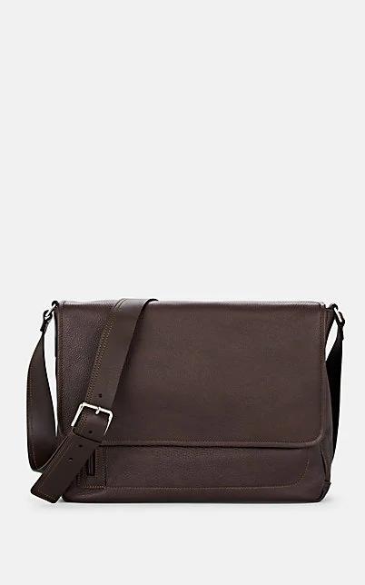 Barneys New York Leather Messenger Bag - Brown