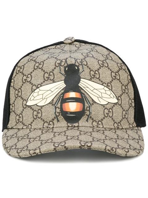 Gucci Bee Coated Gg Canvas & Mesh Baseball Hat, Beige/Black In 2160 Beige
