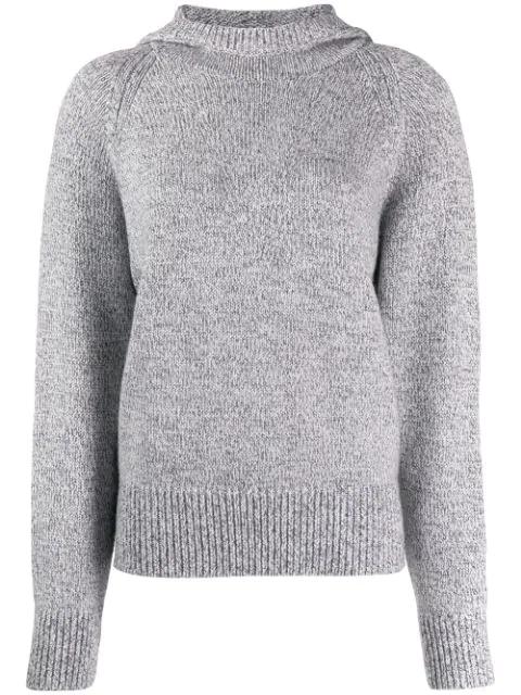 Joseph Round Neck Sweater In 0201 Grey Chine