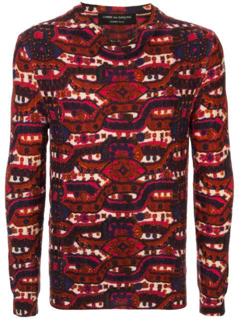 Comme Des Garçons Intarsia Knit Jumper In Red