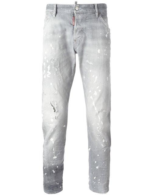 Dsquared2 'sexy Twist' Bleached Splatter Jeans