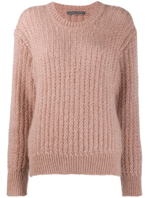 Alberta Ferretti Ribbed Knit Sweater In 2186 Pink