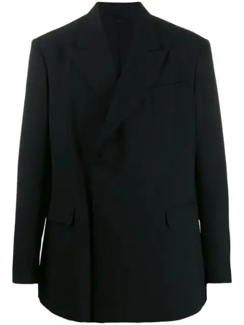 Raf Simons Double-breasted Fitted Blazer In 00099 Black